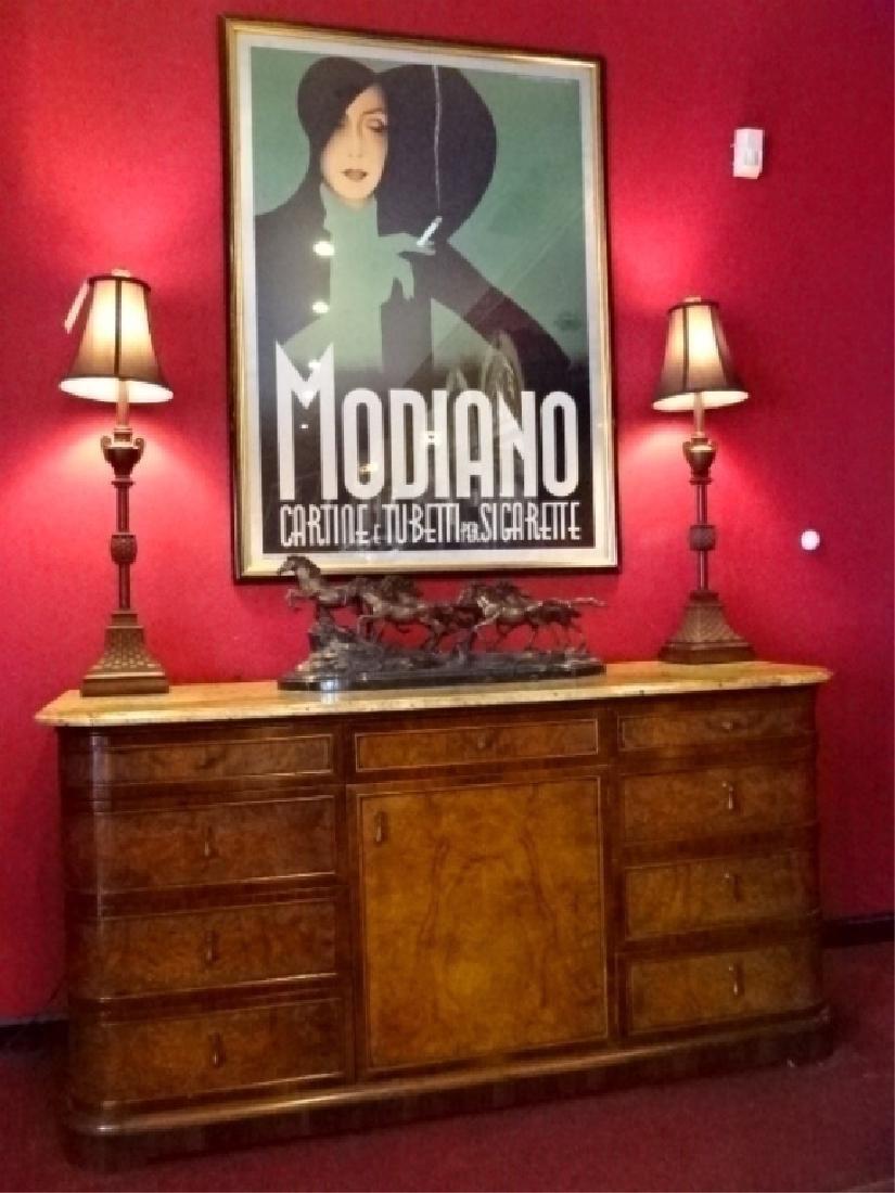 FRANCESCO MOLON ITALIAN SIDEBOARD, MARBLE TOP, BURL