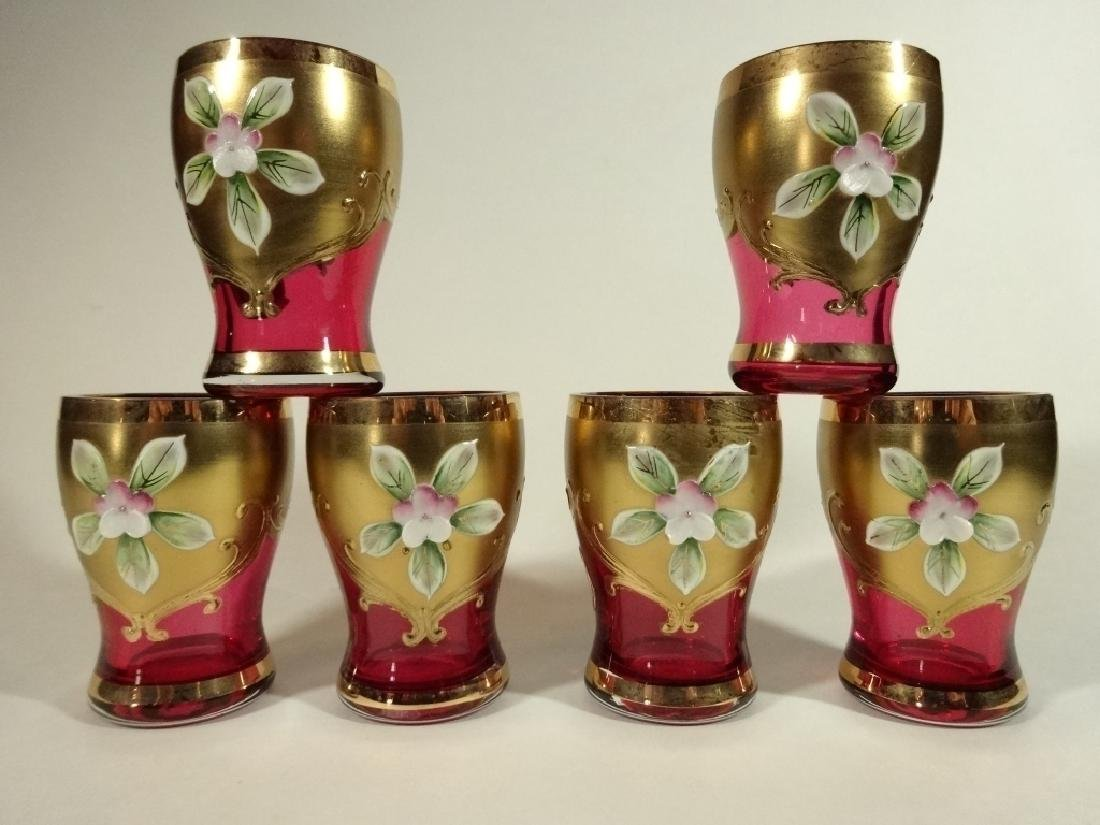 6 GILT DECORATED CRANBERRY CORDIAL GLASSES, PAINTED
