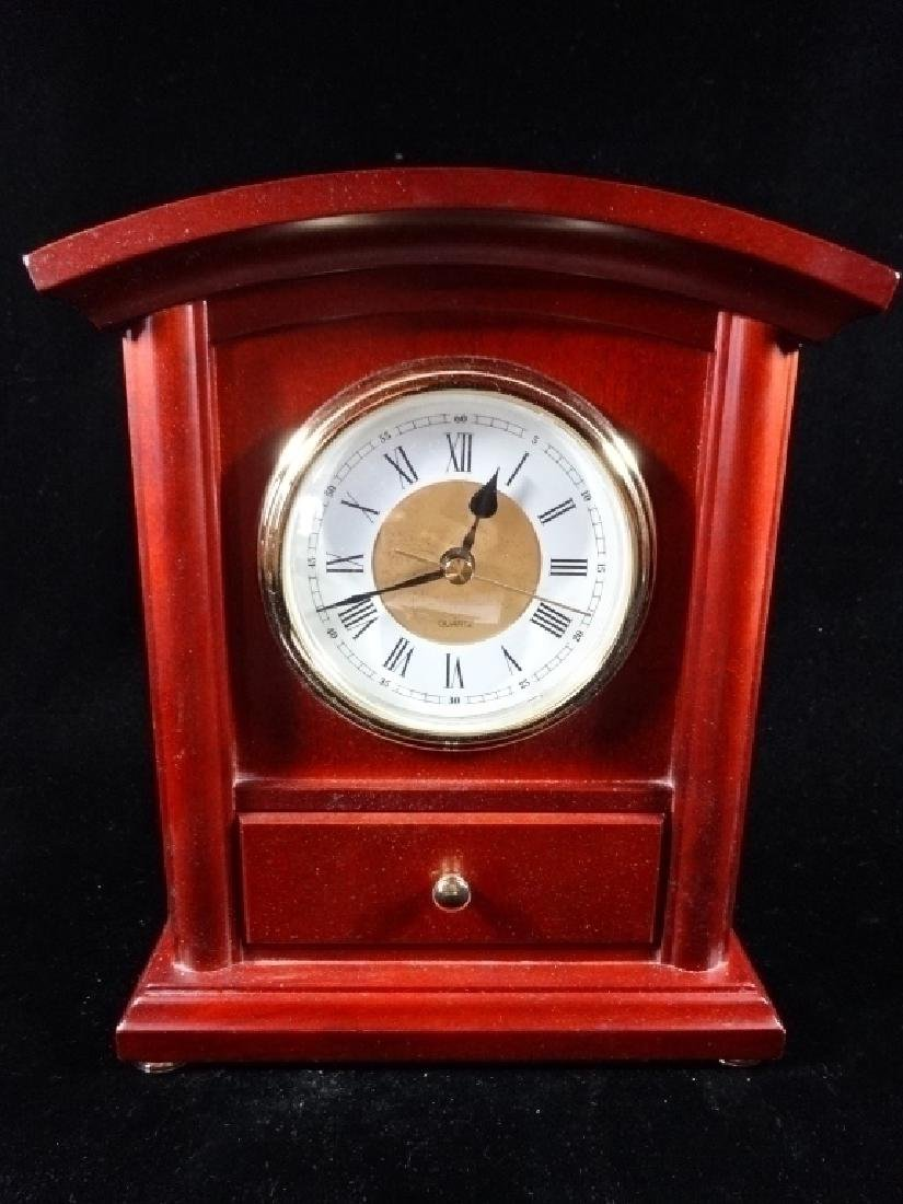 """WOOD MANTLE CLOCK WITH DRAWER, 10"""" X 8"""", SKU275.11"""