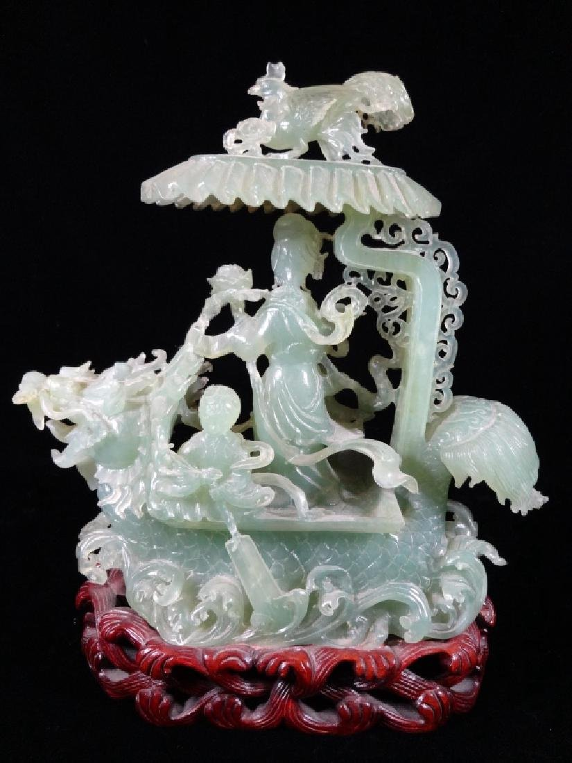"""CHINESE FAUX JADE SCULPTURE, DRAGON BOAT, APPROX 12"""" X"""