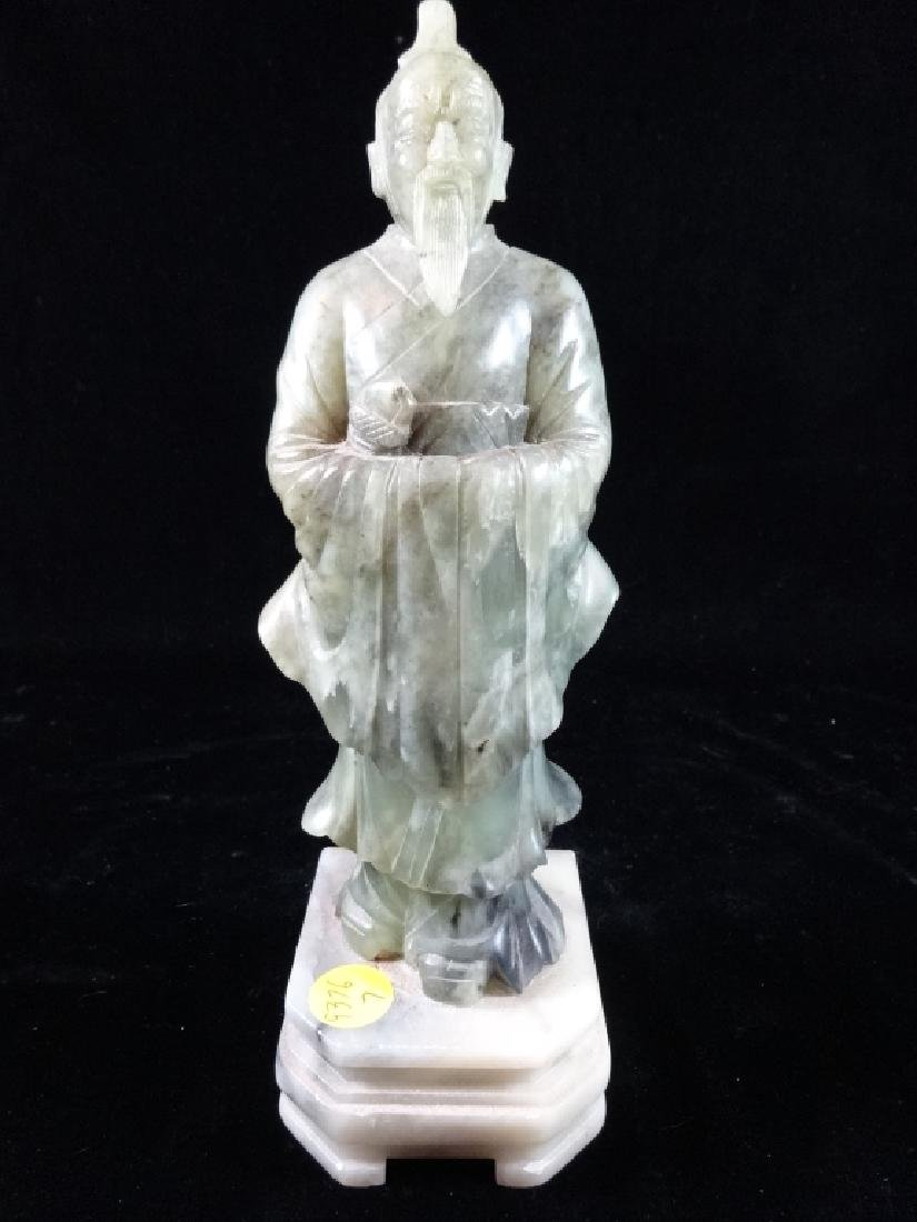 "JADE SCULPTURE, IMMORTAL MAN, APPROX 10"" X 3"""