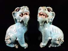 PAIR CHINESE SHIWAN TURQUOISE CRACKLE GLAZE POTTERY FOO
