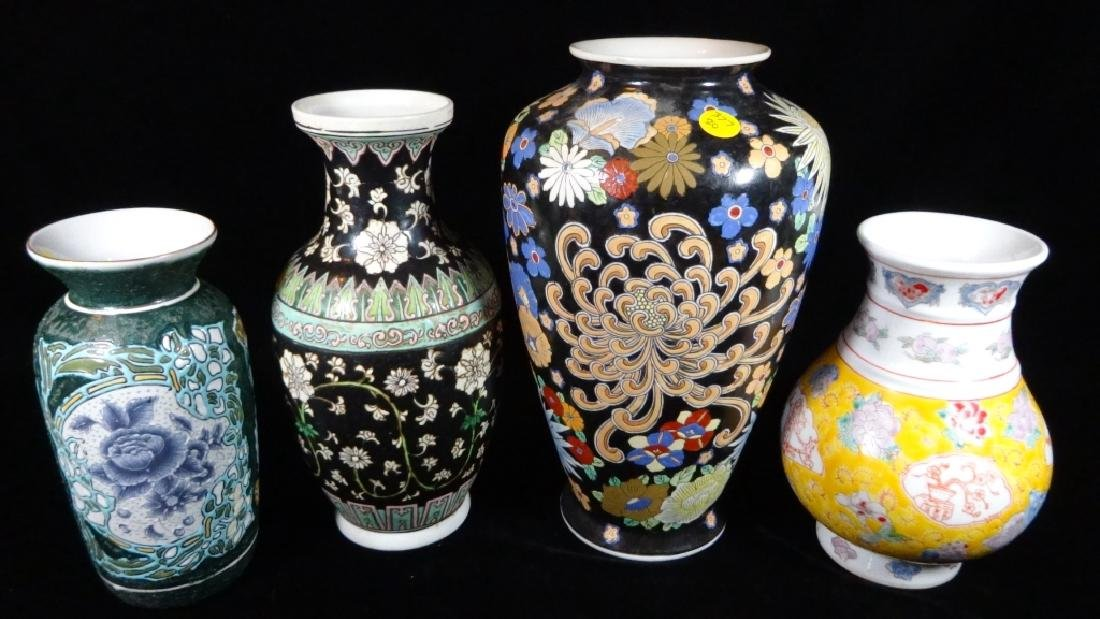 """4 PC CHINESE VASES, LARGEST APPROX 12"""" X 7"""", SMALLEST"""