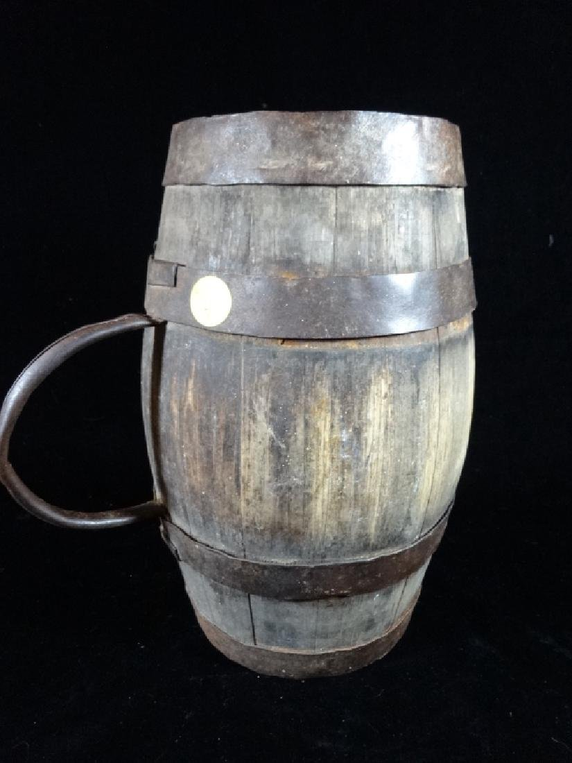 "SMALL WOODEN BARREL WITH HANDLE, APPROX 11"" X 6"""