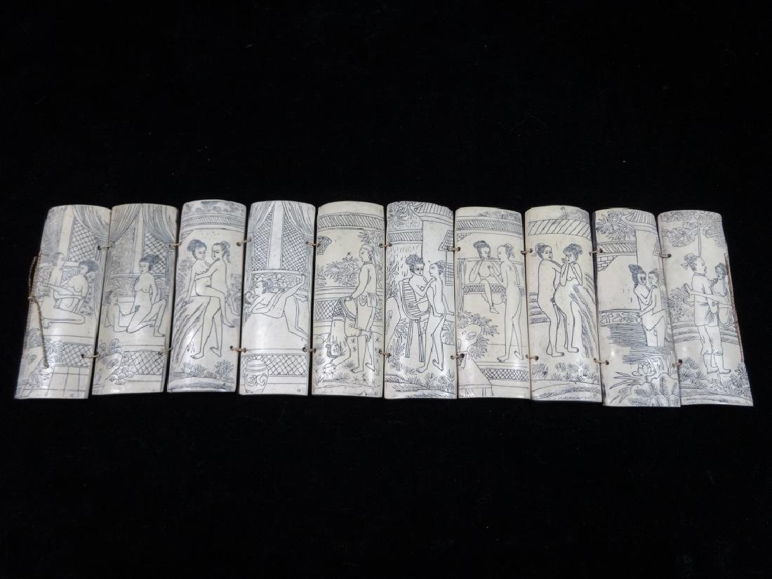 "CHINESE EROTICA, 10 CARVED BONE PANELS, APPROX 4"" X 15"""
