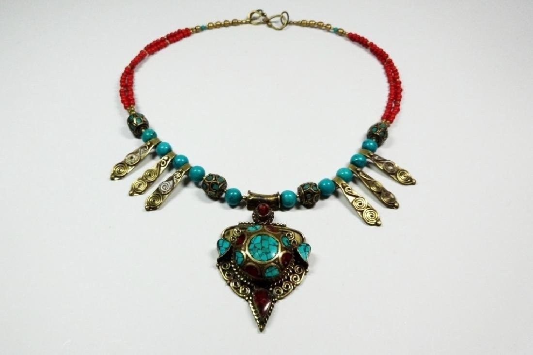 TIBETAN TURQUOISE & CORAL NECKLACE, BRASS ACCENTS,