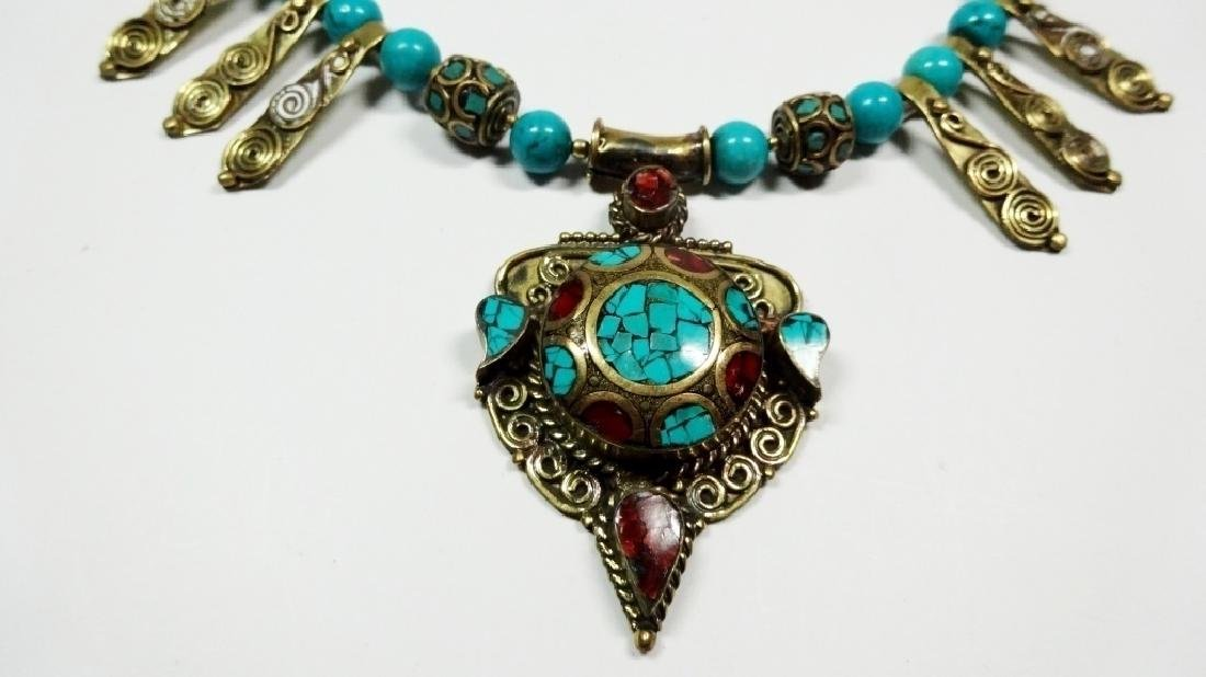 TIBETAN TURQUOISE & CORAL NECKLACE, BRASS ACCENTS, - 2