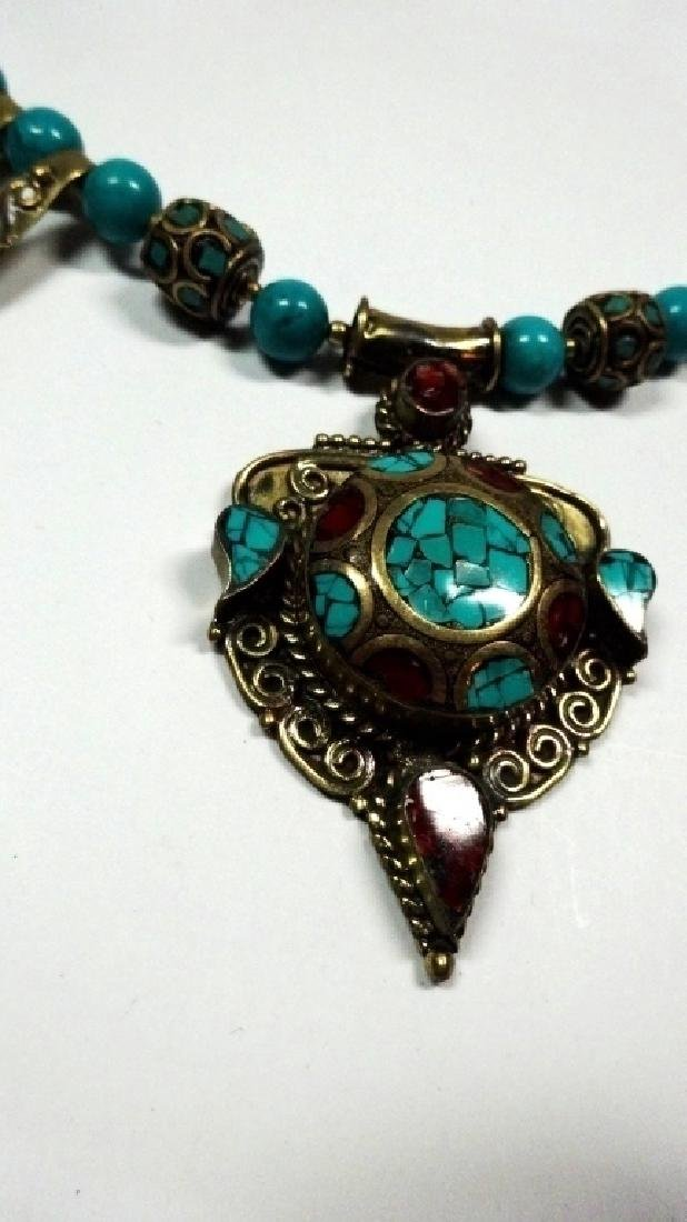 TIBETAN TURQUOISE & CORAL NECKLACE, BRASS ACCENTS, - 3