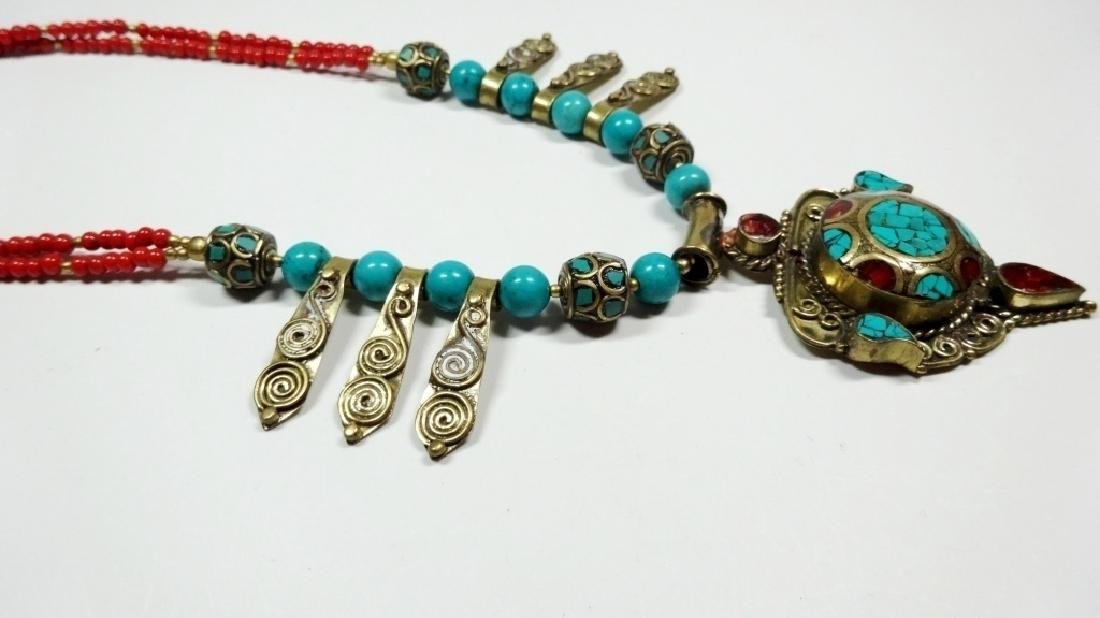 TIBETAN TURQUOISE & CORAL NECKLACE, BRASS ACCENTS, - 5
