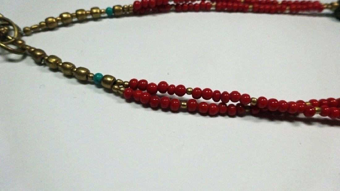 TIBETAN TURQUOISE & CORAL NECKLACE, BRASS ACCENTS, - 6