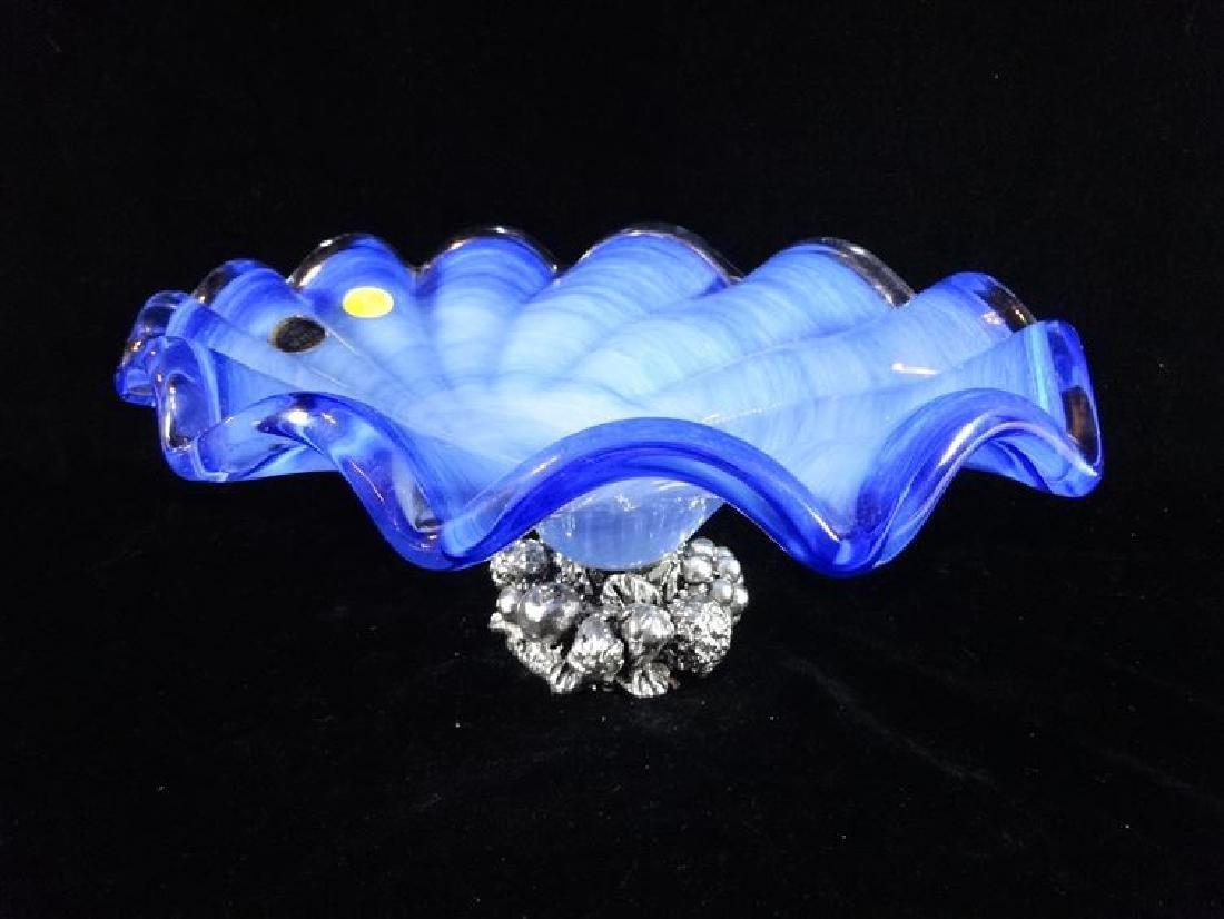 ITALIAN MURANO ART GLASS BOWL, RUFFLED EDGE, BLUE AND
