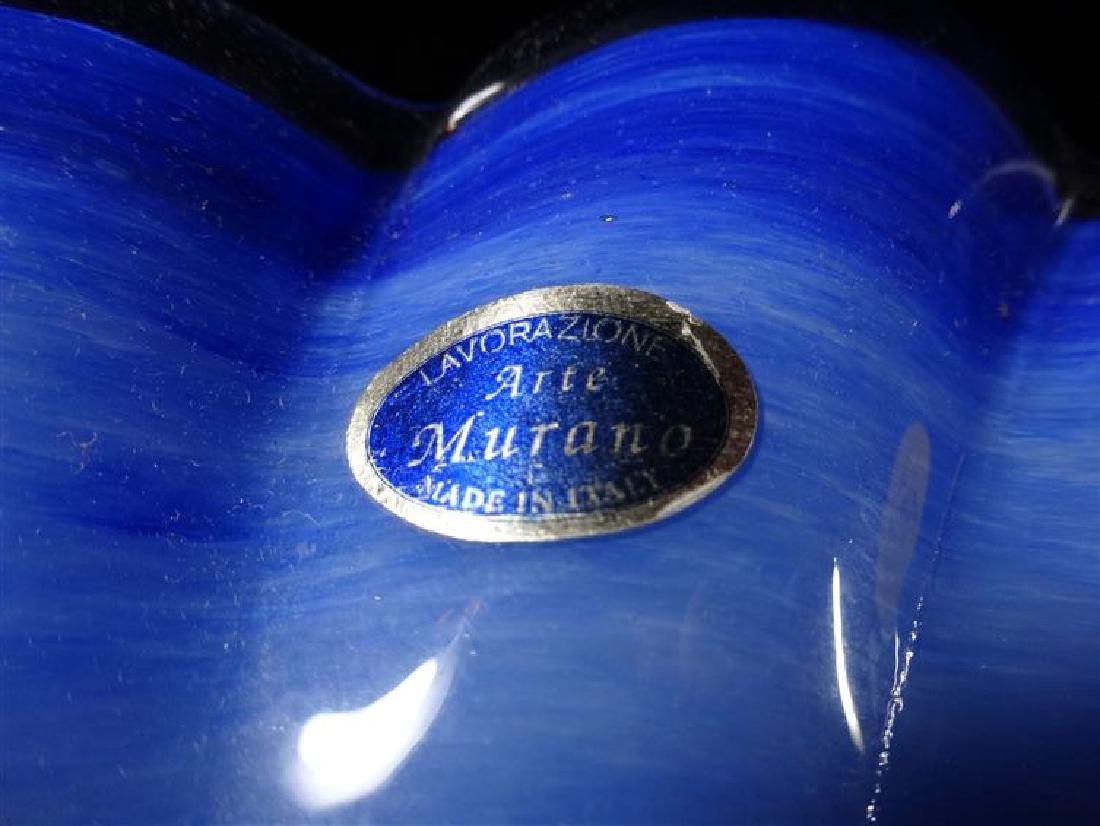 ITALIAN MURANO ART GLASS BOWL, RUFFLED EDGE, BLUE AND - 5