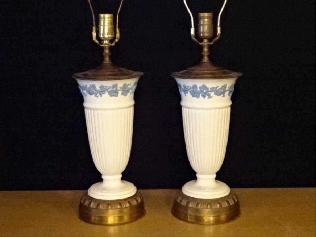 PAIR WEDGWOOD QUEENSWARE TABLE LAMPS, OFF WHITE WITH