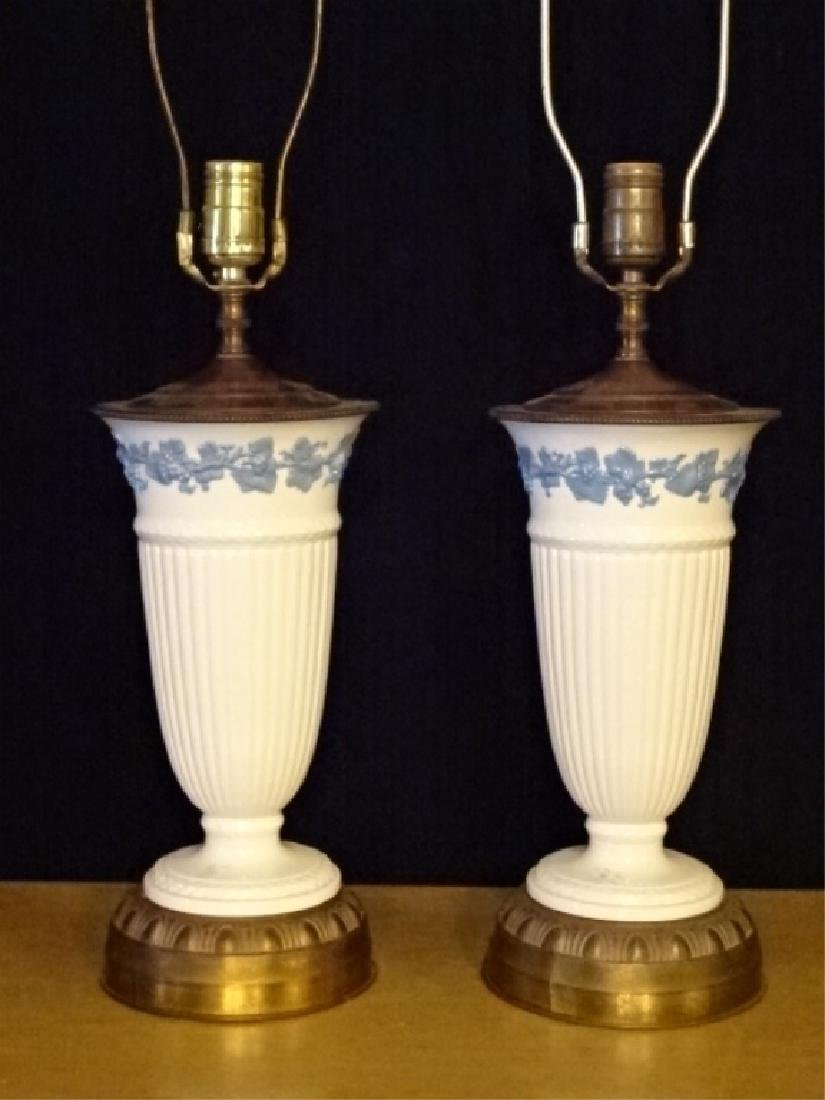 PAIR WEDGWOOD QUEENSWARE TABLE LAMPS, OFF WHITE WITH - 2