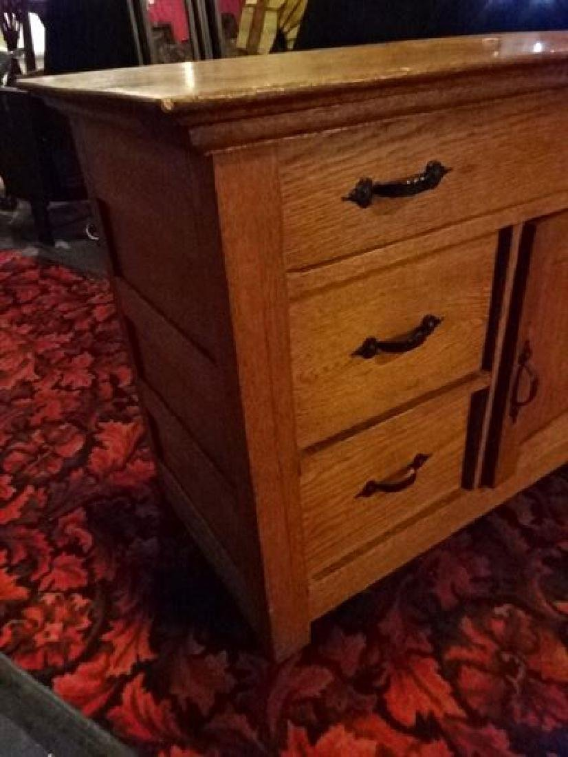 OAK CHEST WITH 3 DRAWERS, SINGLE DOOR CABINET, IRON - 2