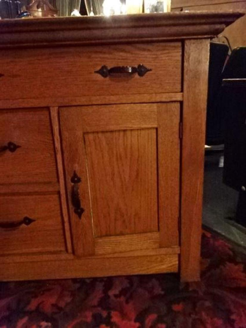 OAK CHEST WITH 3 DRAWERS, SINGLE DOOR CABINET, IRON - 3