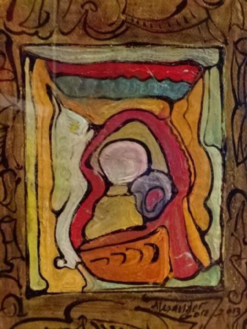 ALEXANDER GORE ABSTRACT OIL PAINTING ON PLASTER BOARD, - 4