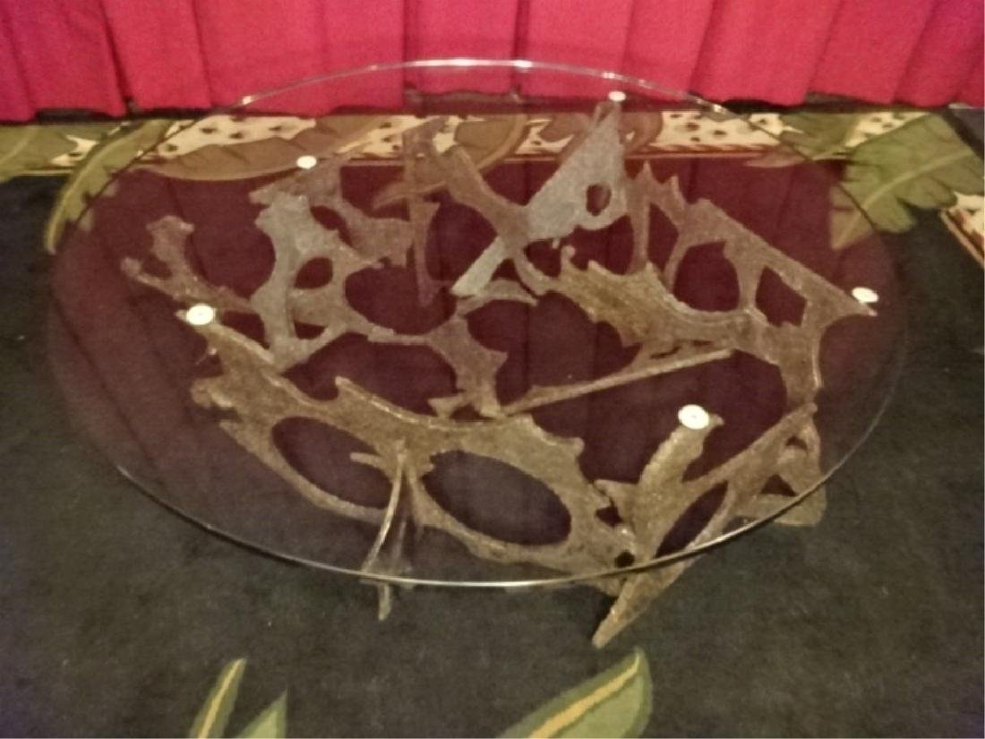 SILAS SEANDEL SIGNED BRUTALIST COFFEE TABLE, TORCH CUT - 2