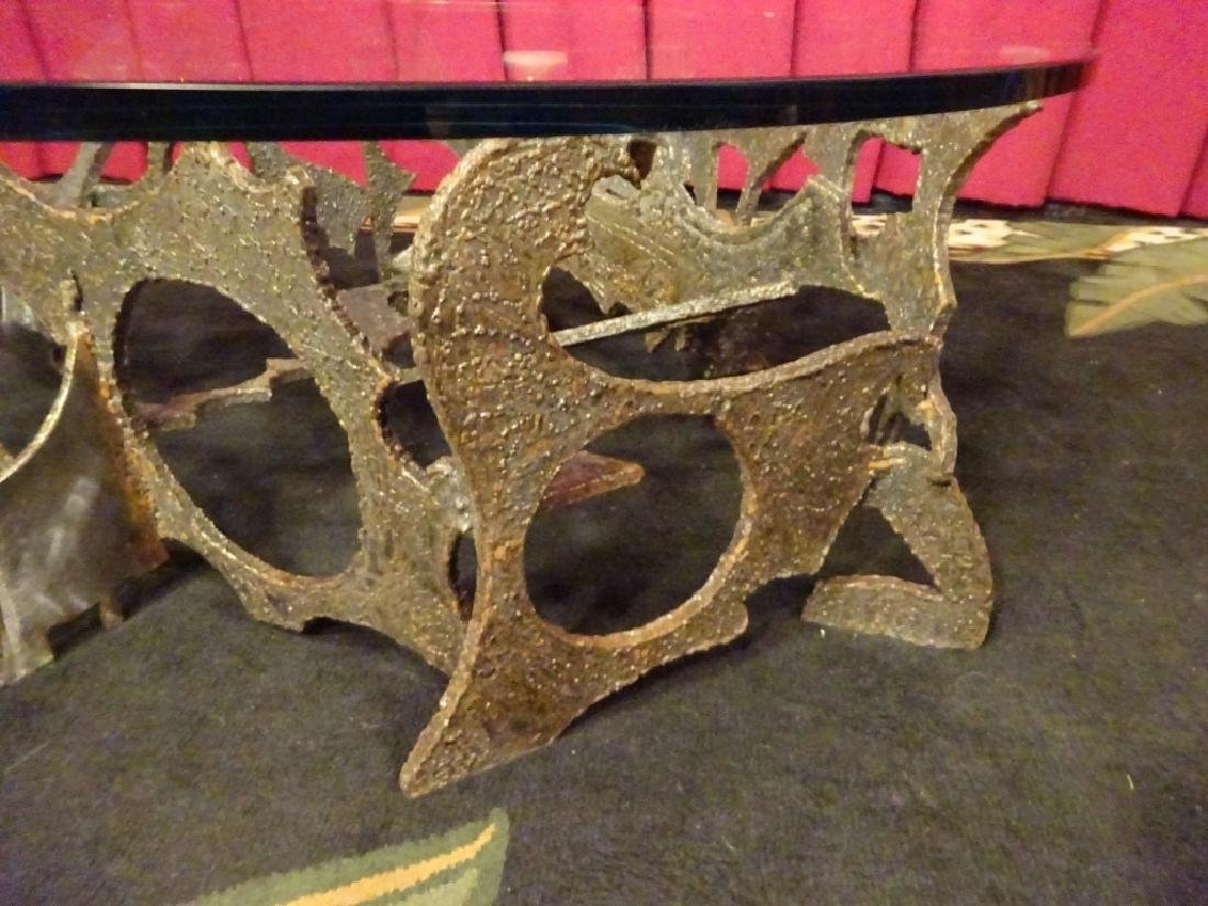 SILAS SEANDEL SIGNED BRUTALIST COFFEE TABLE, TORCH CUT - 6