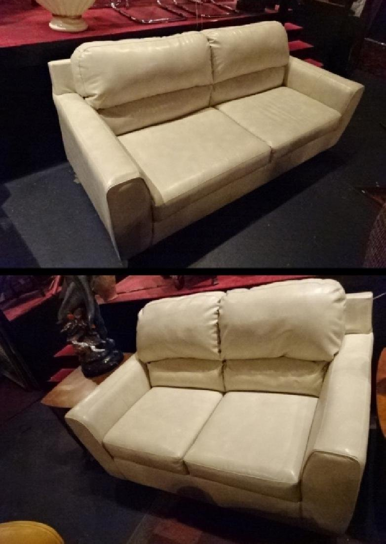 """2 PC WHITE BONDED LEATHER SOFA & LOVESEAT, APPROX 38"""" X"""