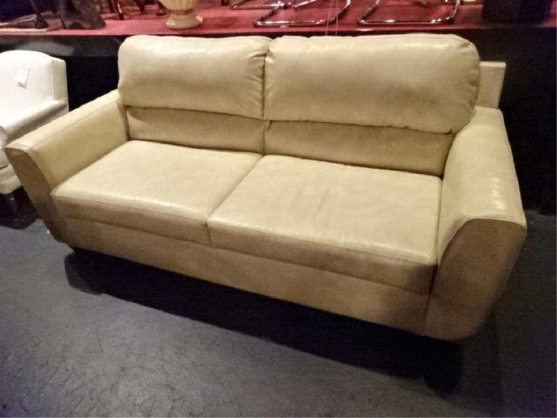 """2 PC WHITE BONDED LEATHER SOFA & LOVESEAT, APPROX 38"""" X - 3"""