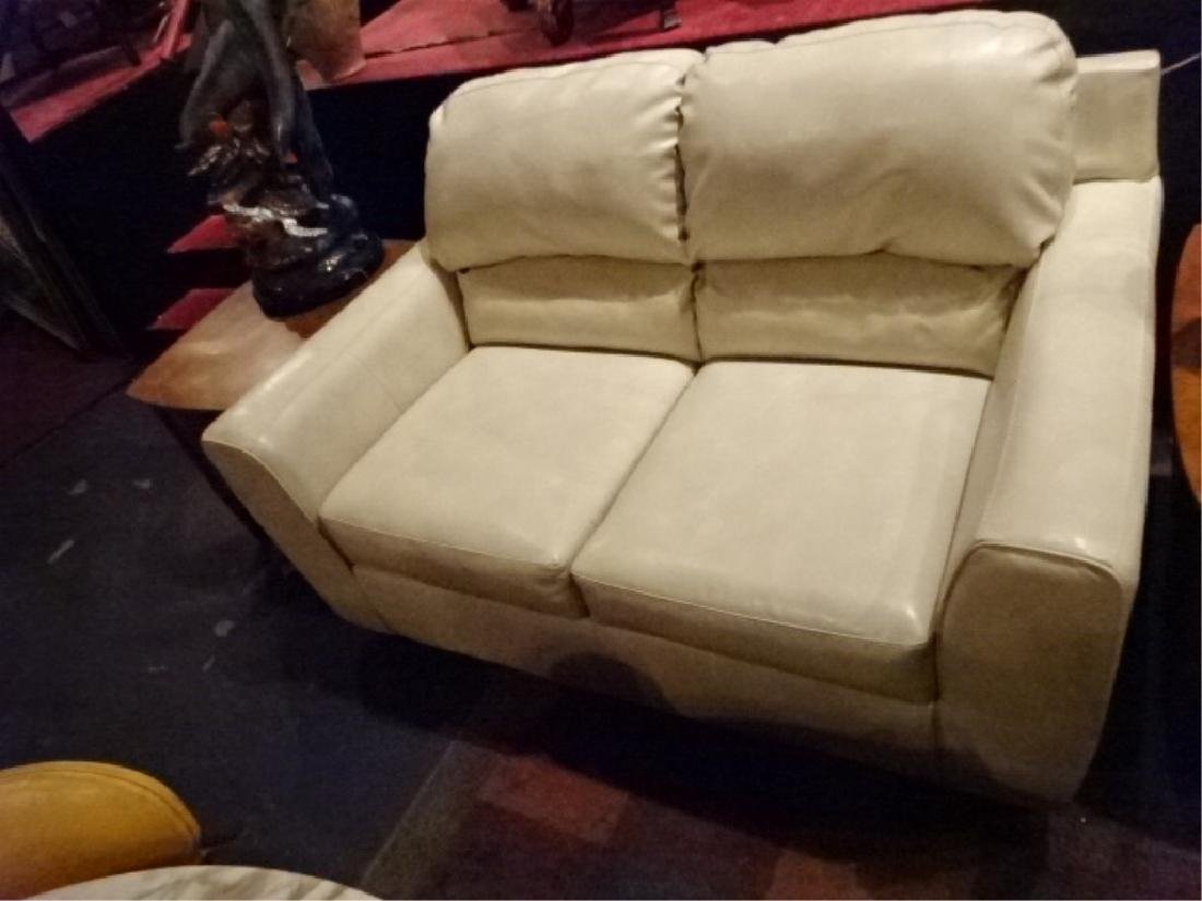 """2 PC WHITE BONDED LEATHER SOFA & LOVESEAT, APPROX 38"""" X - 6"""