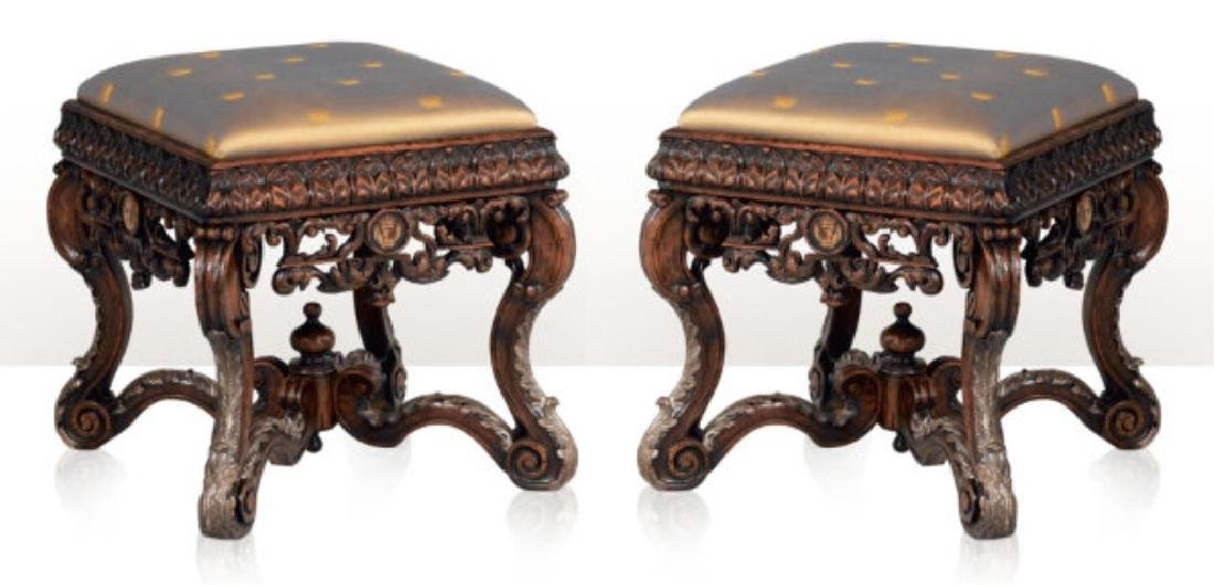 2 PC THEODORE ALEXANDER SPENCER FOOTSTOOLS, FROM THE