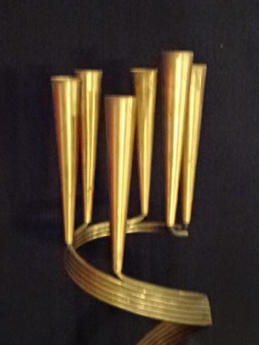 """JUDAICA METAL AND WOOD 6 LIGHT CANDLE HOLDER, 24"""" X - 4"""