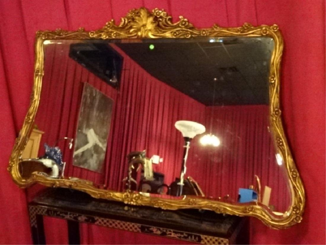 LARGE ROCOCO GOLD GILT WOOD MIRROR, VERY GOOD