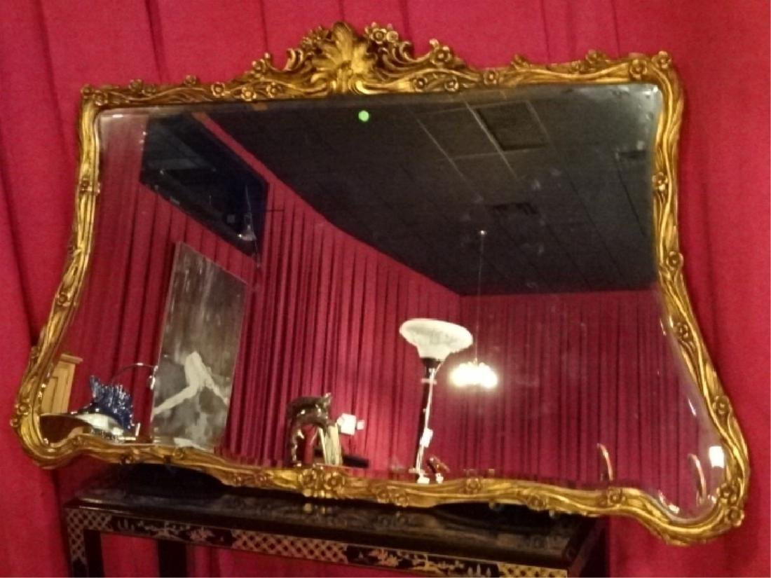 LARGE ROCOCO GOLD GILT WOOD MIRROR, VERY GOOD - 2