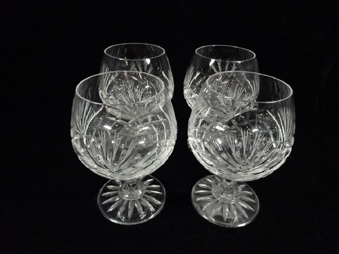 "4 PC CRYSTAL BRANDY SNIFTERS, APPROX 5""H - 2"