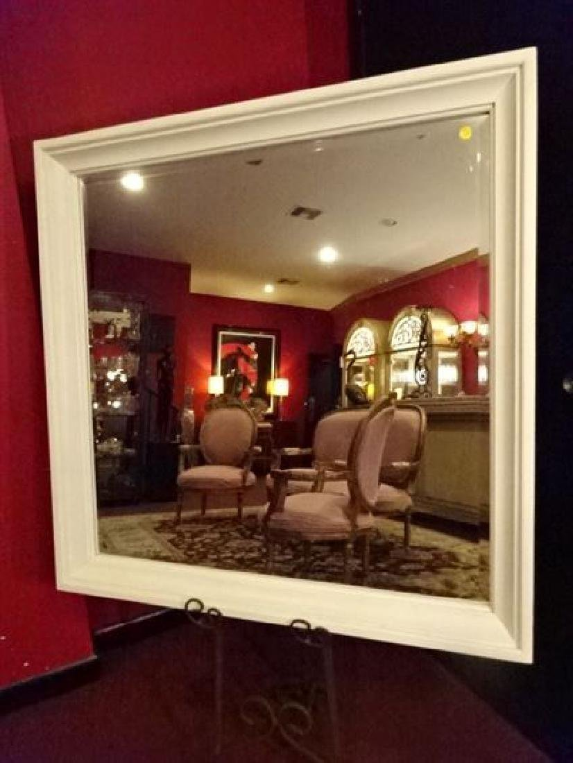 LARGE SQUARE WALL MIRROR, WHITE PAINTED FINISH, VERY