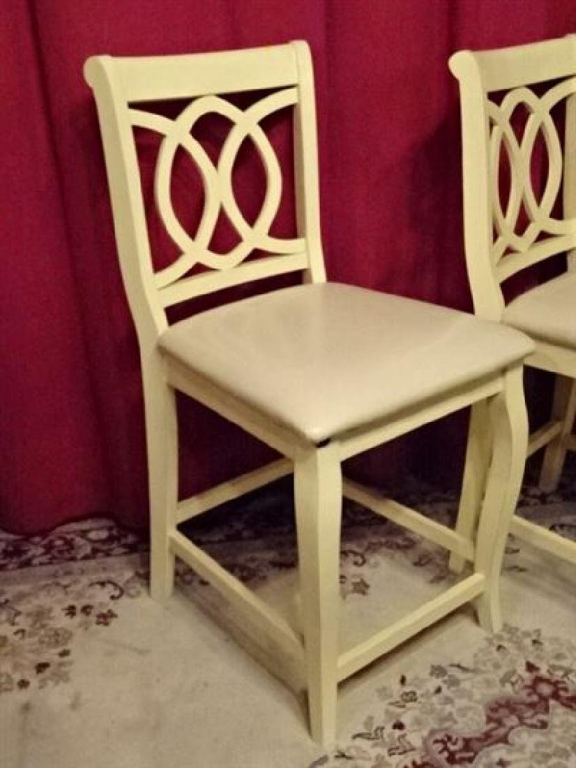 PAIR WHITE PAINTED BARSTOOLS, COUNTER HEIGHT, WITH