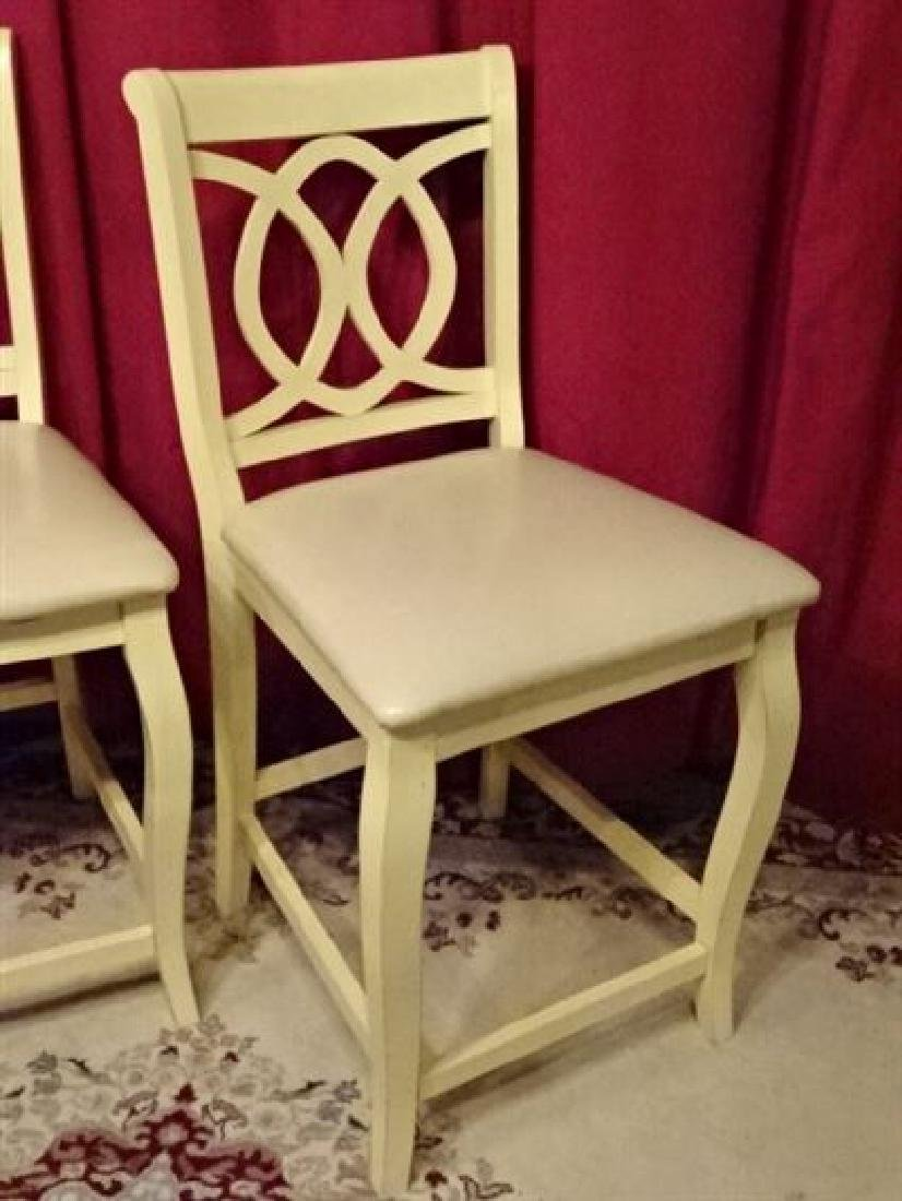 PAIR WHITE PAINTED BARSTOOLS, COUNTER HEIGHT, WITH - 2