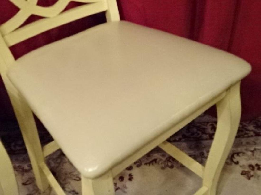 PAIR WHITE PAINTED BARSTOOLS, COUNTER HEIGHT, WITH - 4