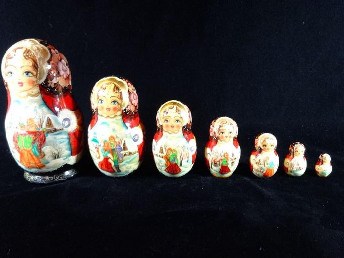 7 PC RUSSIAN MATYROSHKA NESTING DOLLS, RED JACKETS,