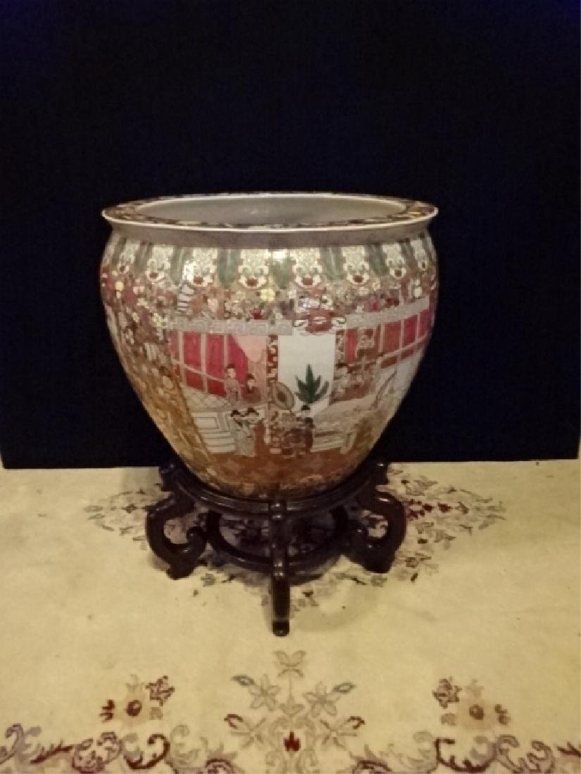 LARGE CHINESE PORCELAIN FISH BOWL ON WOOD STAND, APPROX