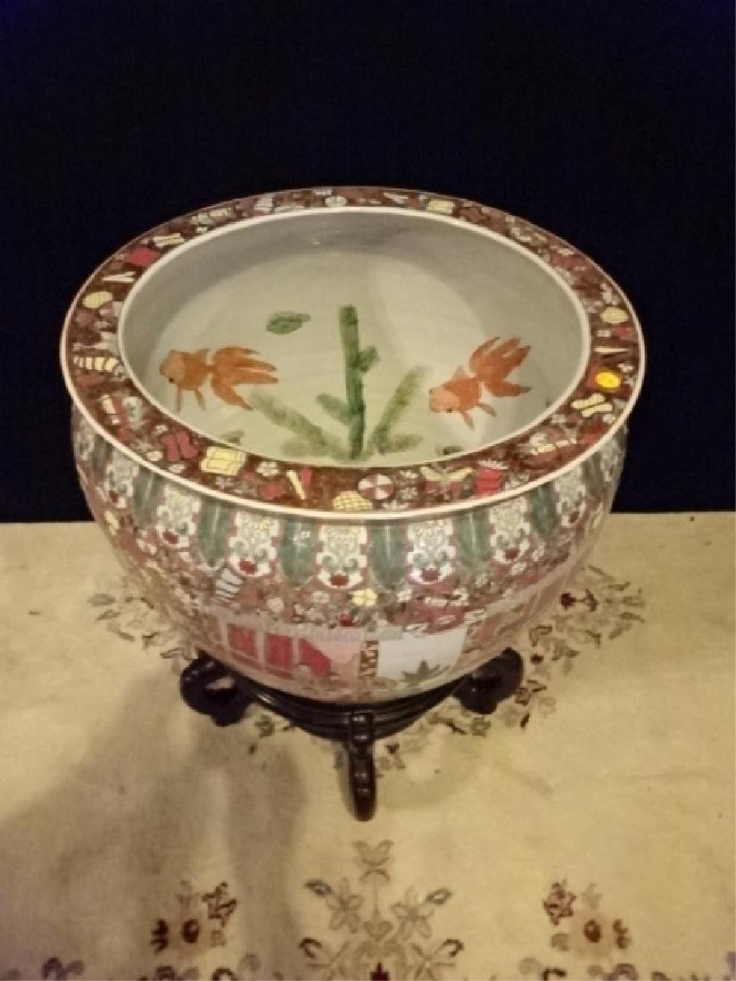 LARGE CHINESE PORCELAIN FISH BOWL ON WOOD STAND, APPROX - 2