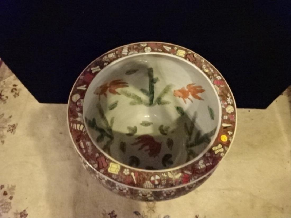 LARGE CHINESE PORCELAIN FISH BOWL ON WOOD STAND, APPROX - 3