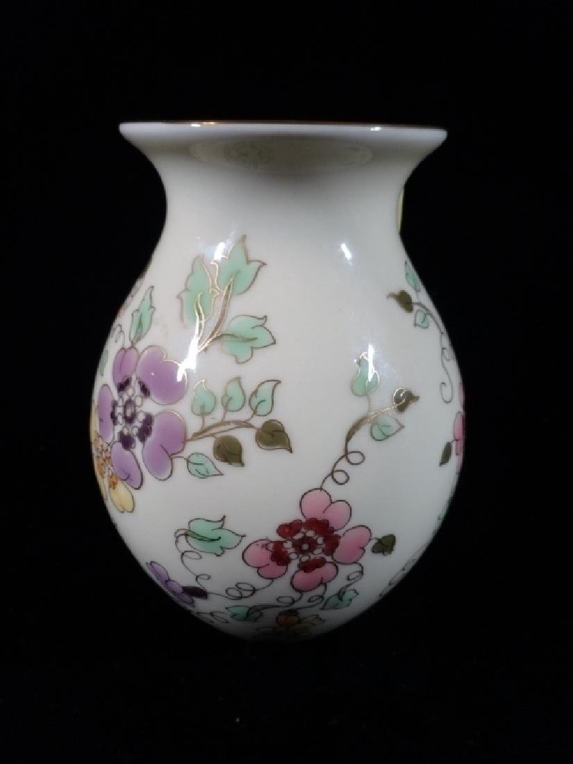 ZSOLNAY HUNGARY PORCELAIN VASE, HAND PAINTED FLORALS,