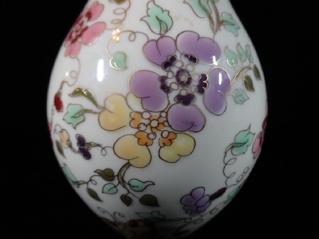 ZSOLNAY HUNGARY PORCELAIN VASE, HAND PAINTED FLORALS, - 2