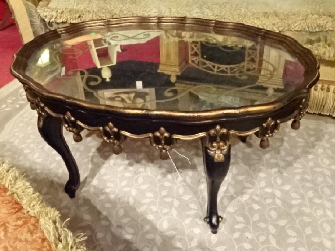 JOHN RICHARD GOLD GILT EBONIZED COFFEE TABLE, WITH - 2
