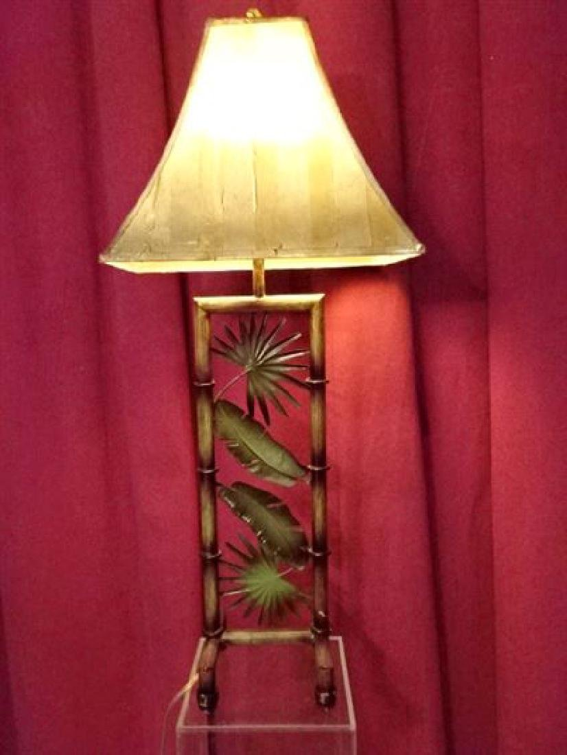 TROPICAL FOLIAGE MOTIF METAL LAMP, VERY GOOD CONDITION,