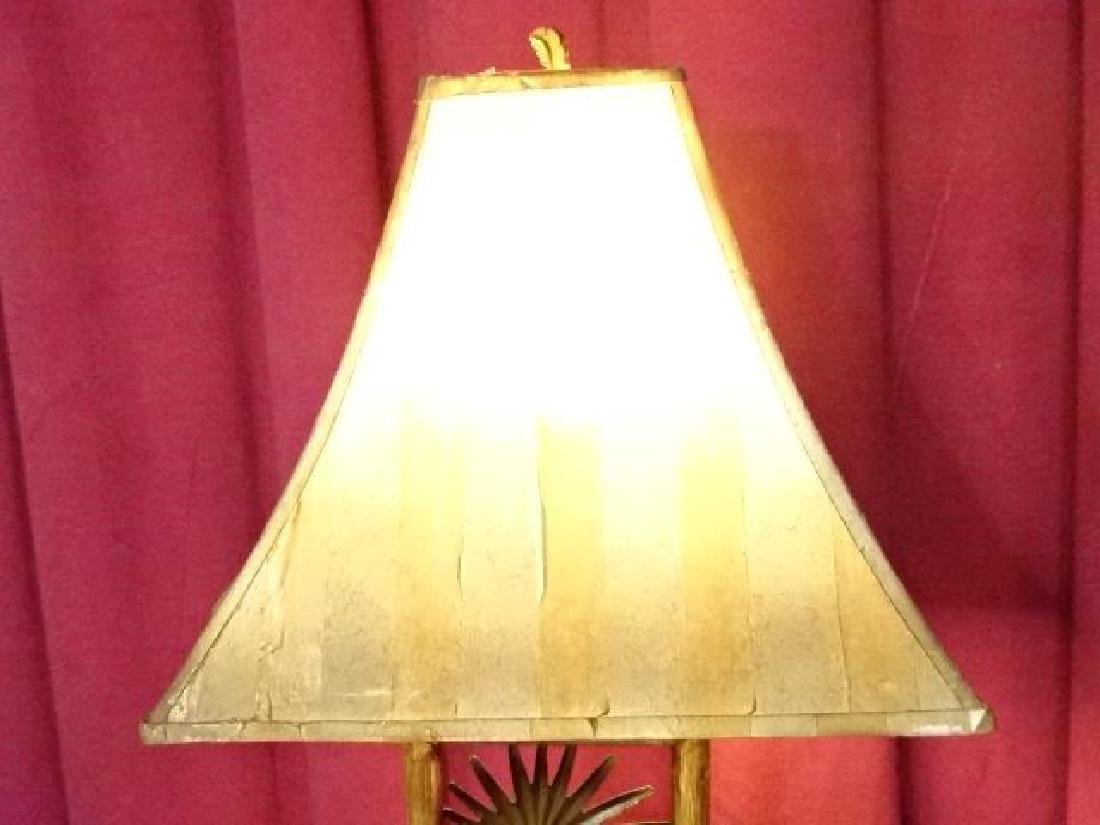 TROPICAL FOLIAGE MOTIF METAL LAMP, VERY GOOD CONDITION, - 5