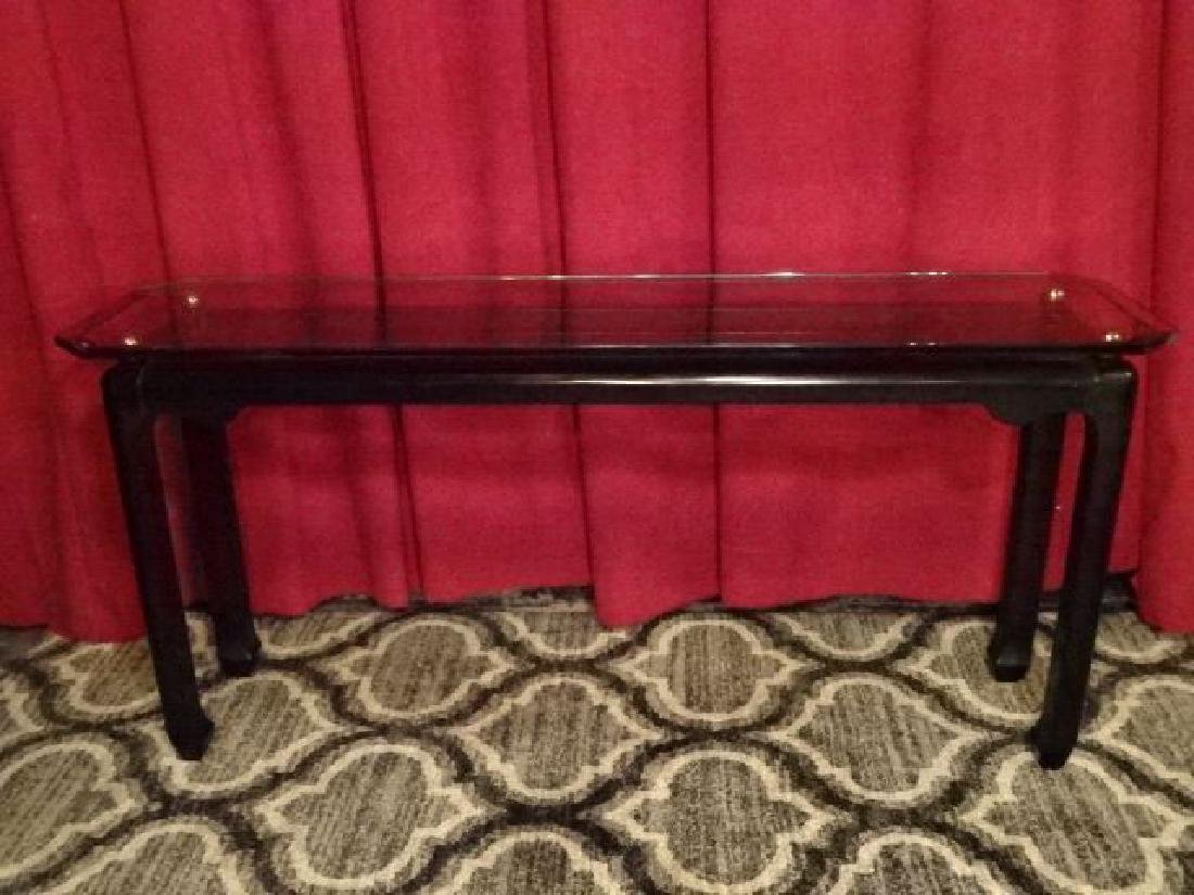ASIAN MOTIF WOOD AND GLASS CONSOLE TABLE, BLACK ENAMEL - 2