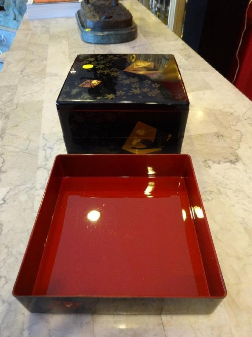 "BLACK LACQUER BOX WITH LID, APPROX 6"" X 7"" X 8"" - 2"