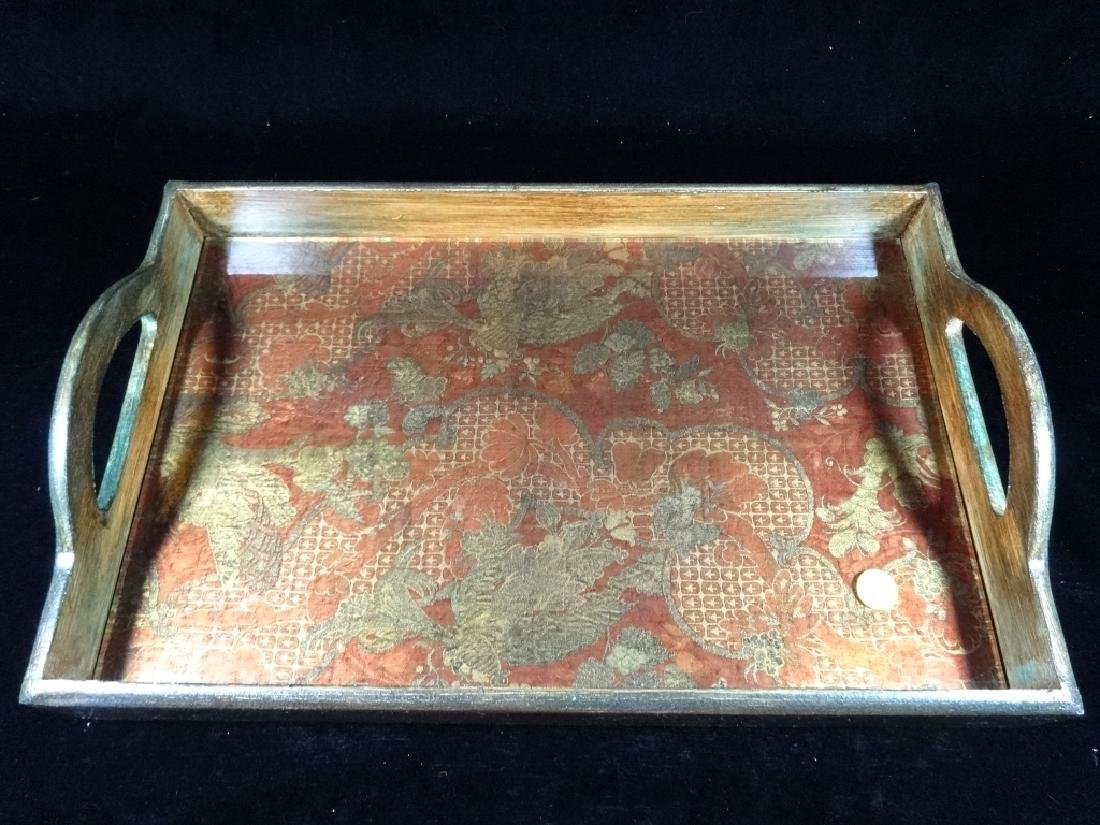 """WOODEN TRAY WITH HANDLES, APPROX 17"""" X 11"""""""