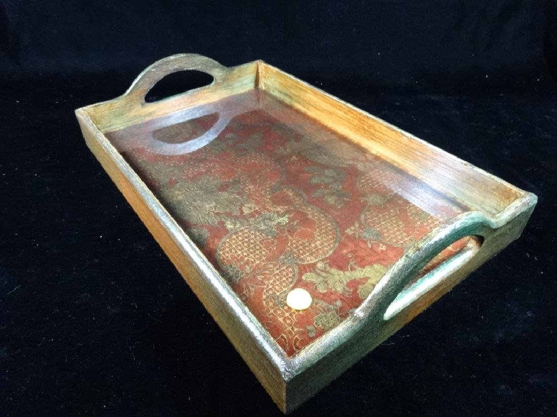 """WOODEN TRAY WITH HANDLES, APPROX 17"""" X 11"""" - 3"""