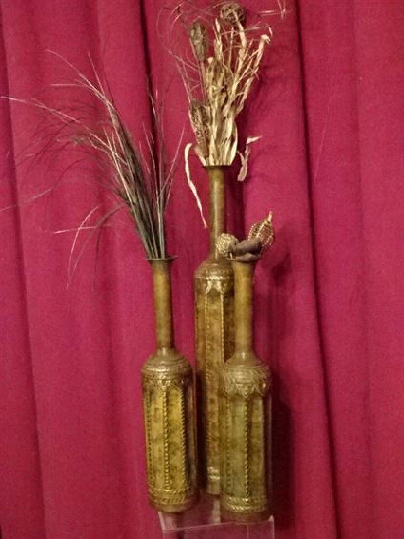 3 METAL VASES WITH DRIED FOLIAGE ARRANGEMENTS, VERY