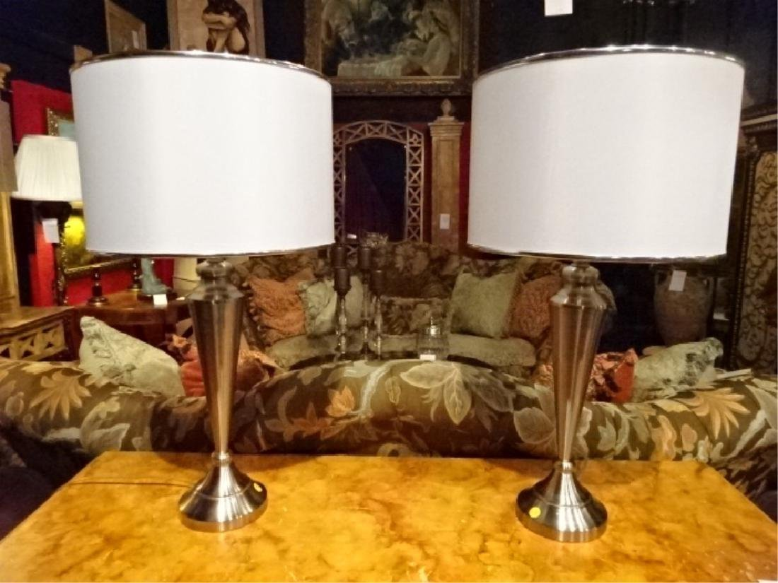 PAIR TABLE LAMPS, NICKEL FINISH, WHITE DRUM SHADES,